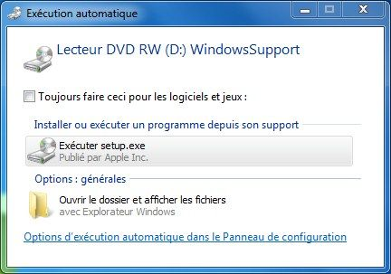 Capture d'écran - Installation des drivers Boot Camp via le DVD