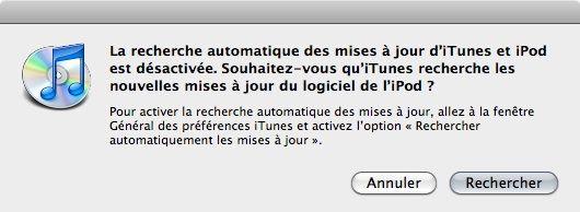 Capture d'écran - Automatiser la recherche des mises à jour de iTunes et iPod