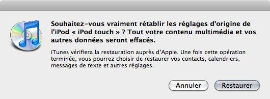 Capture d'écran - Avertissement avant RAZ de l'iPod touch