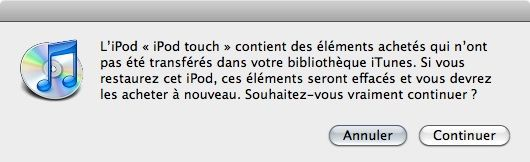 Capture d'écran - Avertissement avant suppression des éléments achetés sur iTunes Store