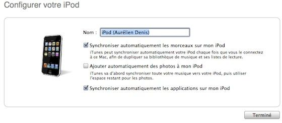 Capture d'écran - Options de synchronisation de l'iPod