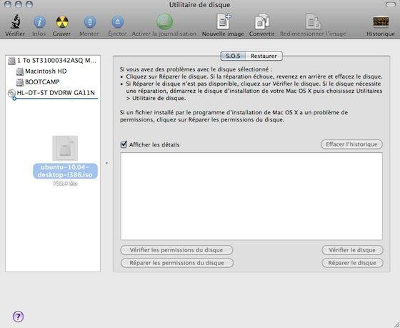 Capture d'écran - Utilitaire de disque, ajout d'un fichier ISO