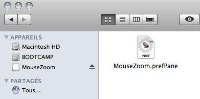 Capture d'écran - Finder, plugin MouseZoom pour les Préférences Système