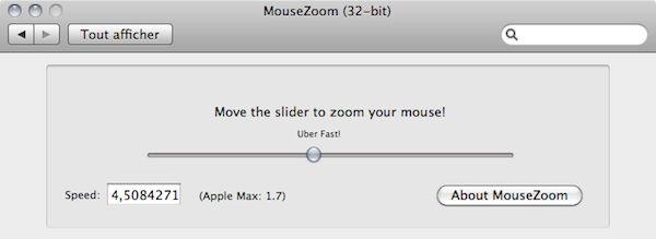 Capture d'écran - MZoom, réglette d'ajustement la vitesse de la souris
