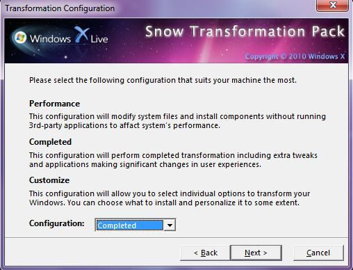Capture d'écran - Snow Transformation Pack, choix du type de configuration