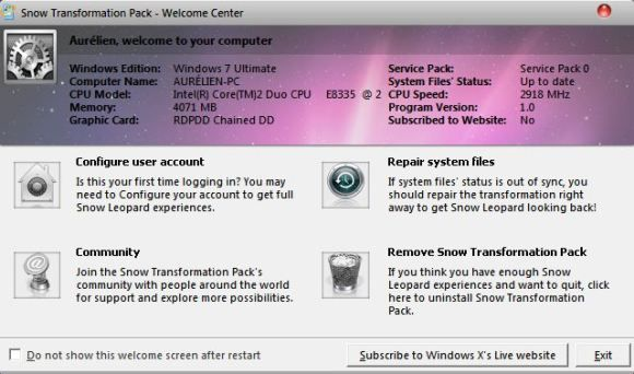 Capture d'écran - Snow Transformation Pack, centre de contrôle