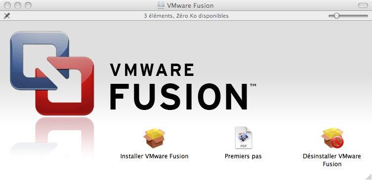 Capture d'écran - Ouverture de l'image disque contenant VMware Fusion 3