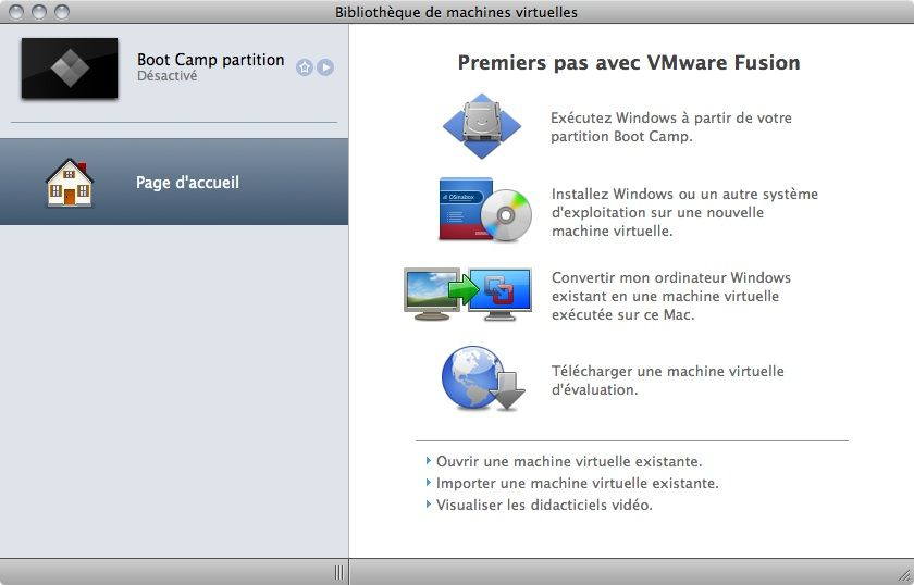 Capture d'écran - Ecran d'accueil de VMware Fusion