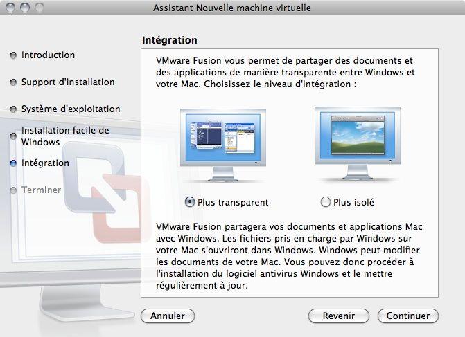 Capture d'écran - Choix du mode d'intégration de VMware