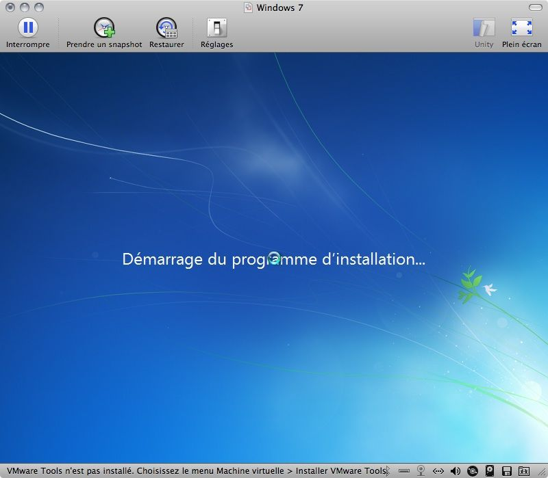 Capture d'écran - Démarrage du programme d'installation de Windows 7