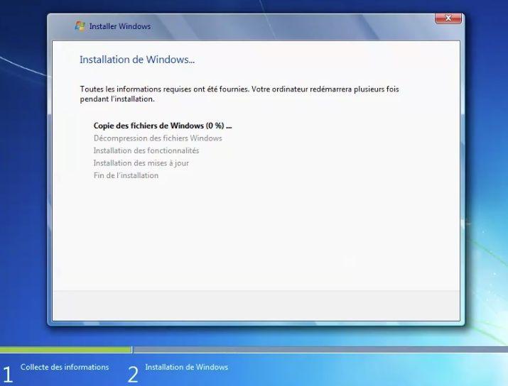 Capture d'écran - Processus d'installation de Windows 7