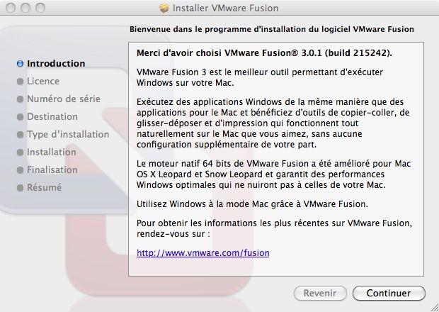 Capture d'écran - Processus d'installation de VMware Fusion, écran d'accueil