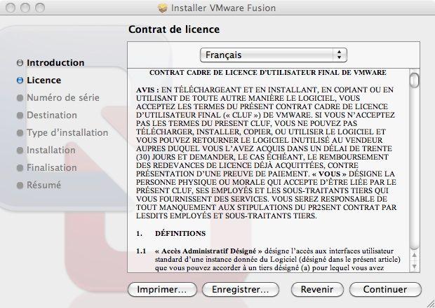 Capture d'écran - Processus d'installation de VMware Fusion, contrat de licence