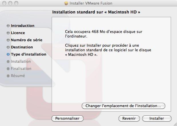 Capture d'écran - Processus d'installation de VMware Fusion, choix de l'emplacement