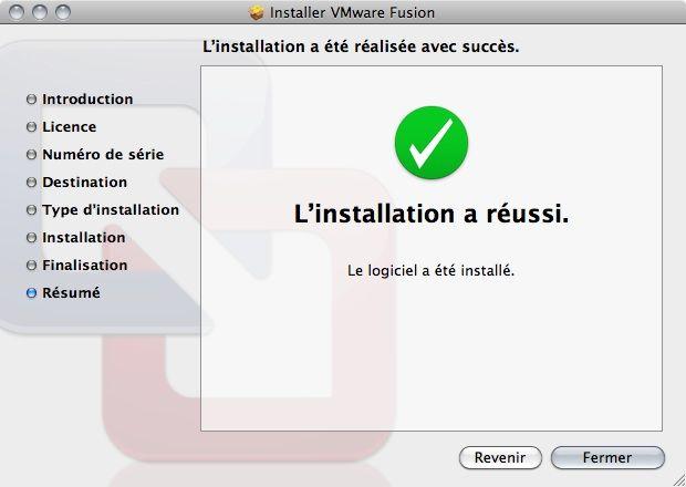 Capture d'écran - Processus d'installation de VMware Fusion, installation réussie