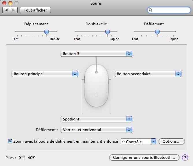 clic droit avec clavier mac