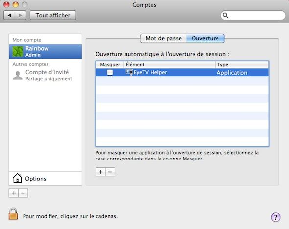 Capture d'écran - Options d'ouverture de session sous MacOS X Snow Leopard