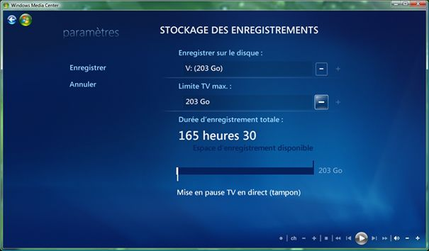 Capture d'écran - Désignation du nouvel emplacement des enregistrements TV dans Windows Media Center