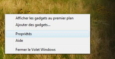 Menu contextuel du volet Windows