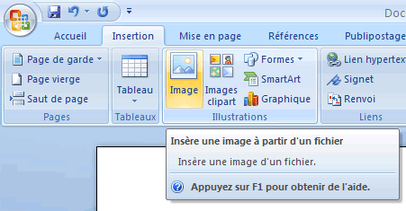 Menu Insertion de Word 2007