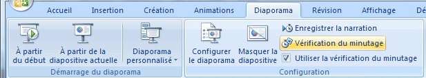 Vérification du minutage - PowerPoint 2007