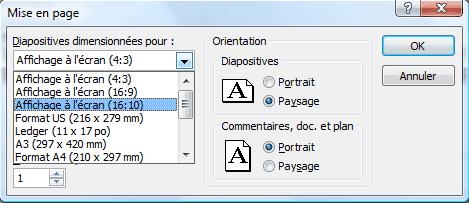 Fenêtre Mise en page - PowerPoint 2007