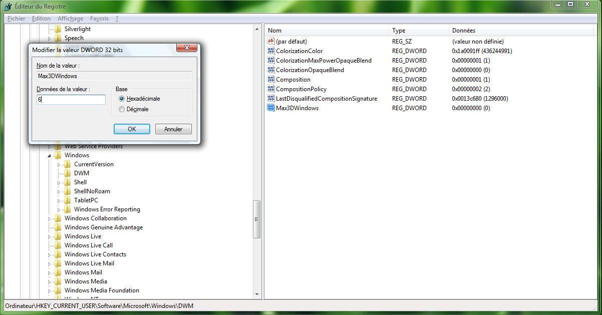 Capture décran - Editeur de Registre, modification de la valeur Max3DWindows