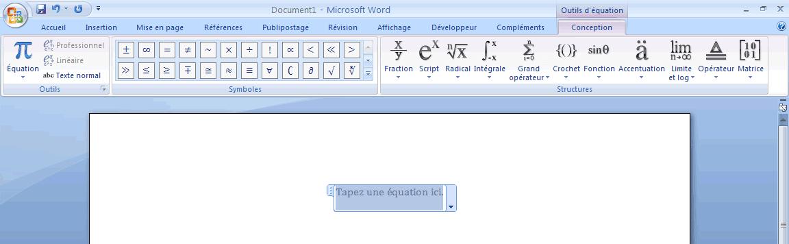Module Equations de Word 2007