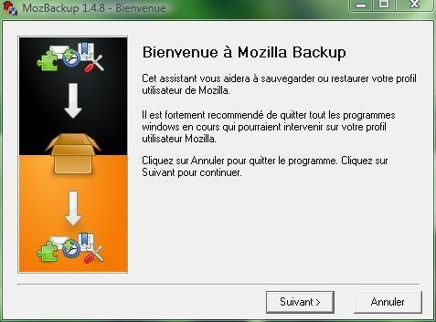 Capture d'écran - MozBackup, écran d'accueil