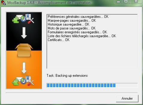 Capture d'écran - Processus de sauvegarde dans MozBackup