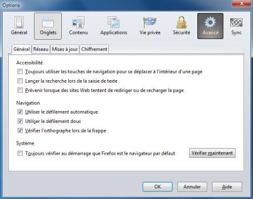 Capture d'écran - Mozilla Firefox, options avancées