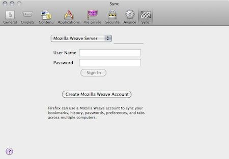 Capture d'écran - Mozilla Weave, création d'un compte
