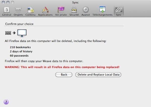 Capture d'écran - Mozilla Weave, confirmation de l'effacement des données locales