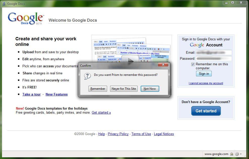 Capture d'écran - Mozilla Prism, test de Google Docs