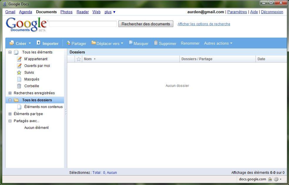 Capture décran - Mozilla Prism, utilisation de Google Docs