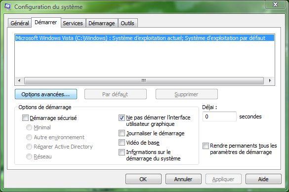 Capture d'écran - Configuration du système (msconfig)