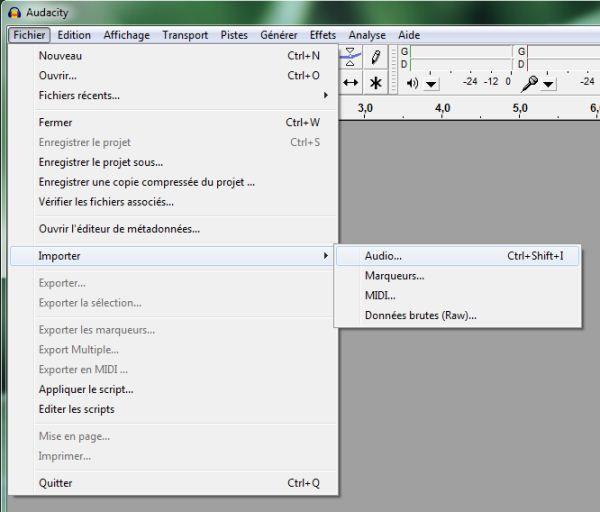 Capture d'écran - Audacity, importation du fichier vidéo contenant la piste sonore