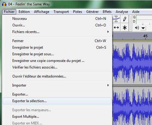 Capture d'écran - Audacity, exportation stéréo du fichier en haute qualité