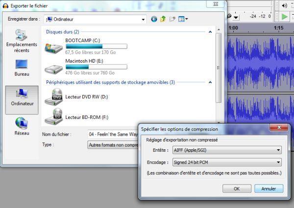 Capture d'écran - Audacity, réglages de la qualité d'exportation sonore