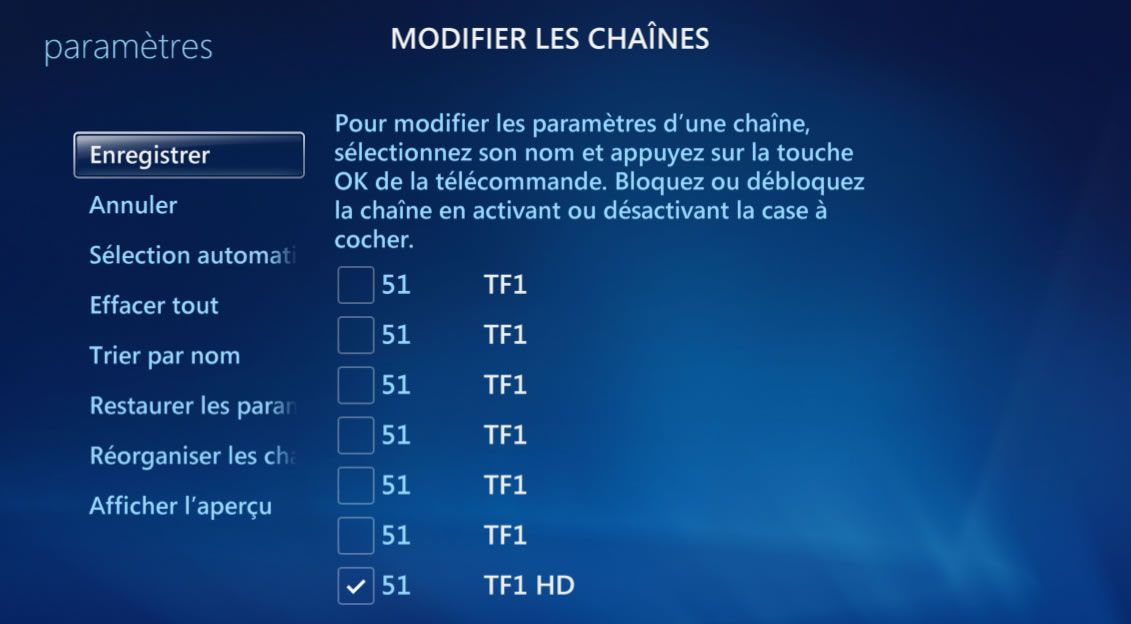 Capture décran - Menus Modifier les chaînes (Microsoft Windows Media Center)