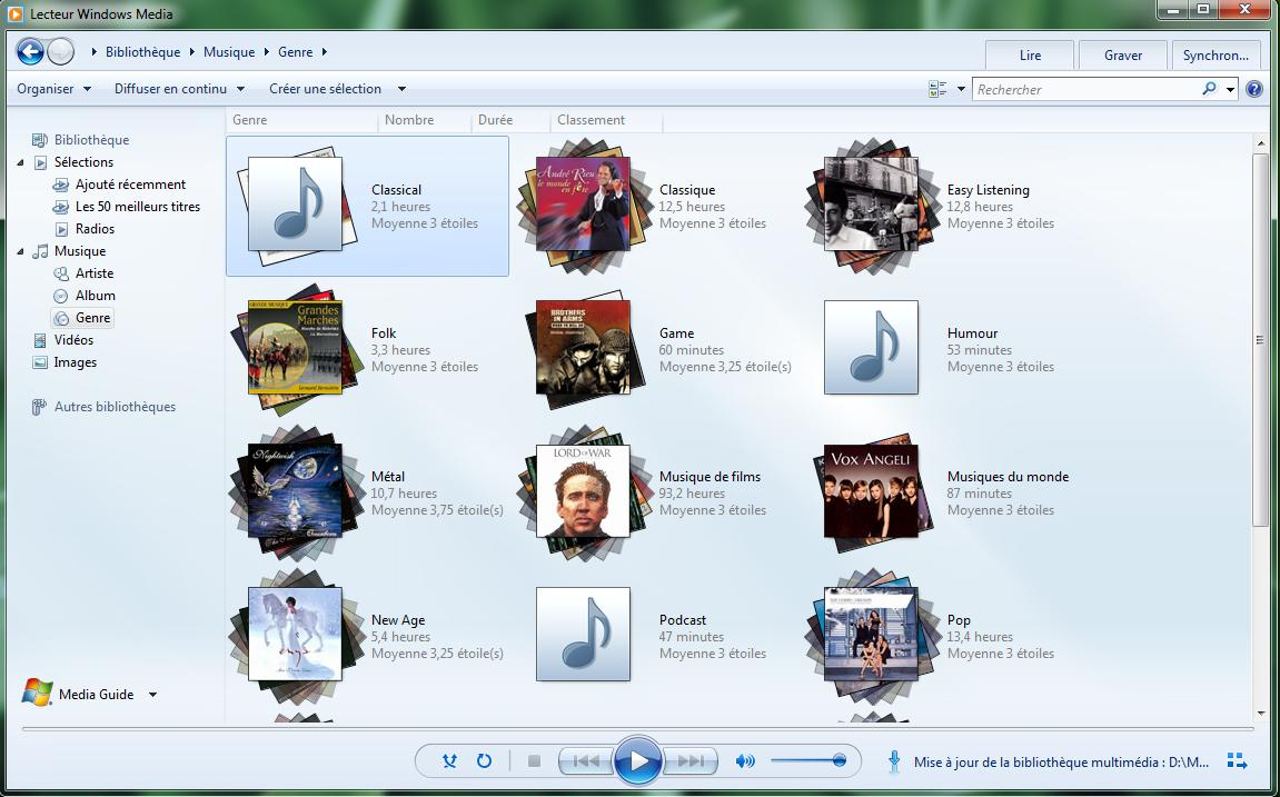 Capture décran - Windows Media Player 12... de retour sous Seven
