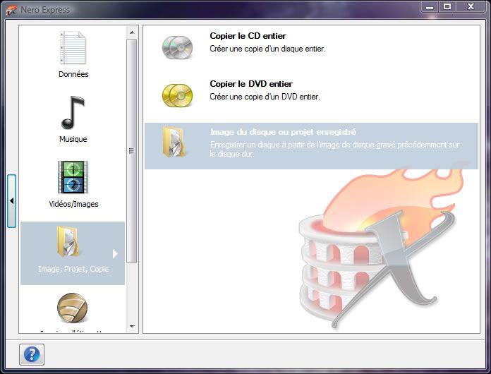 Capture d'écran - Nero Express, assistant de gravure d'une image ISO