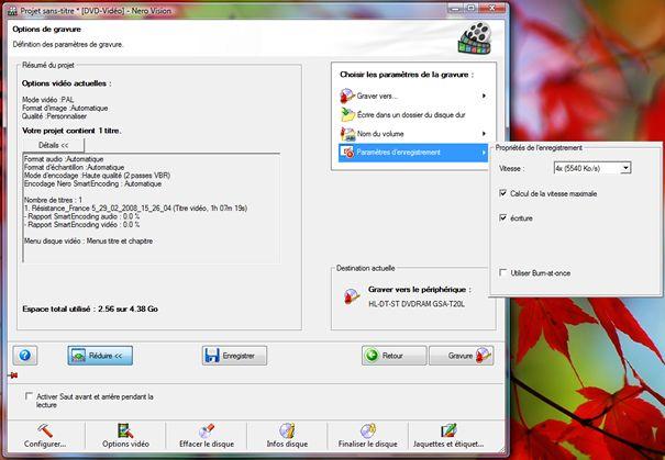 Capture d'écran - Nero Vision 5, calcul de la vitesse de gravure maximale