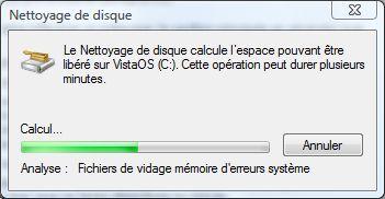 Capture d'écran - Nettoyage de disque