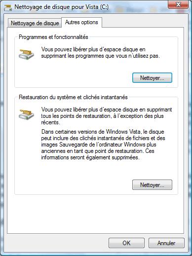Nettoyeur de disque Windows (autres options)