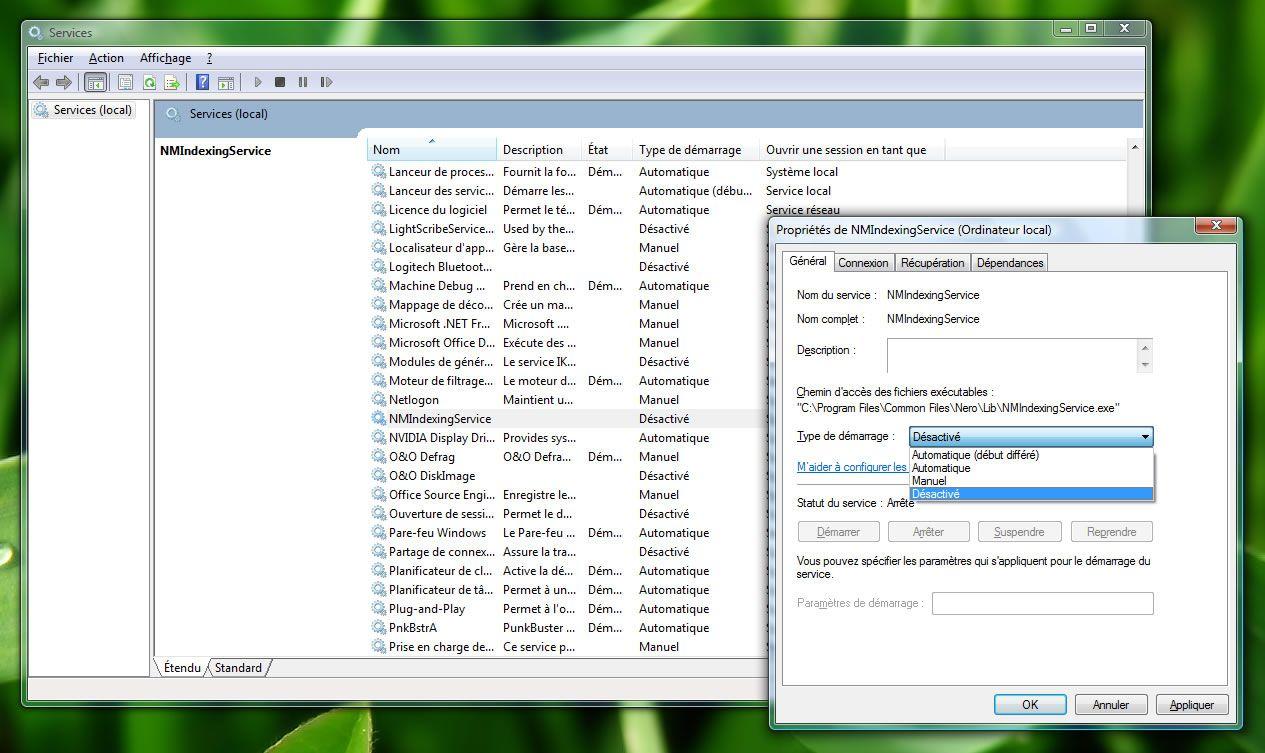 Capture d'écran - Désactiver le service d'indexation de Nero 8