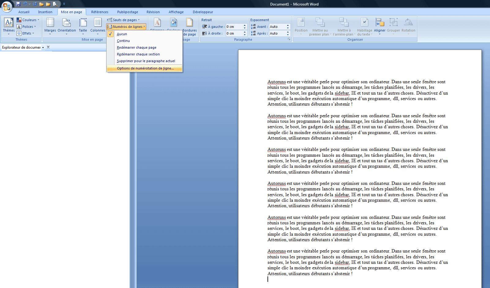 Ajouter la num rotation des lignes dans la marge d 39 un for Dans word