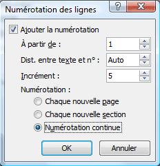 Options de numérotation des lignes