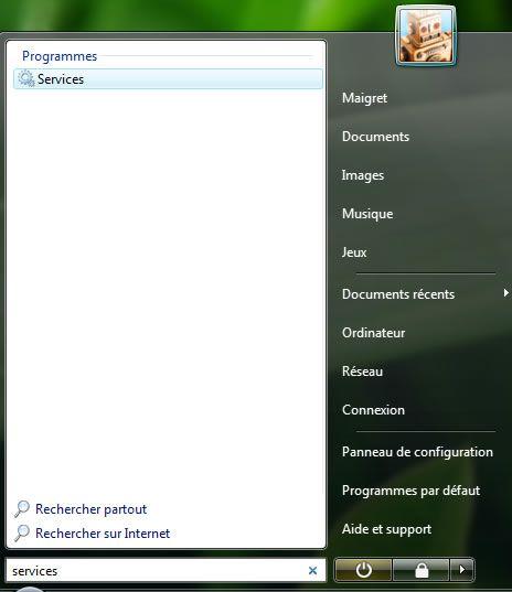 Capture d'écran - Menu Démarrer, accès aux services de Windows Vista