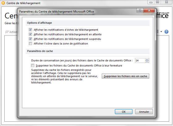 Capture d'écran - Paramètres du Centre de téléchargements sous Office 2010